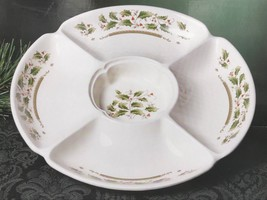 "Royal Limited Holly Holiday 13"" Chip and Dip Serving Christmas Party Dis... - $49.95"