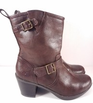 Skechers Chunky Heeled Pull-On Brown Faux Leather Boots for Women Size 9 - $27.66
