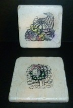 Holiday Stoneware Coasters Christmas Thanksgiving Square Tiles Hand Stam... - $12.19
