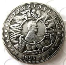 Rare Hobo Nickel 1897 Morgan Dollar Hands Grabbing Lincoln Eagle Casted ... - $11.99