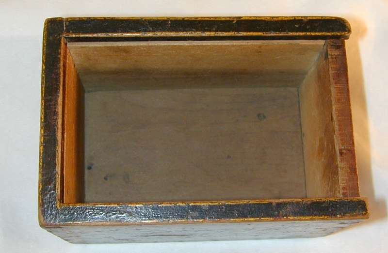 19th Century Antique Painted Wood Small Candlebox Candle Box Sliding Lid