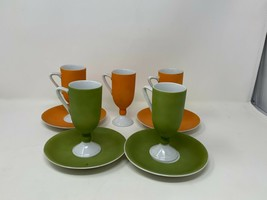 Vintage Matte by Summit Fine China 5 Coffee Cups & 4 Saucers Orange Gree... - $39.59