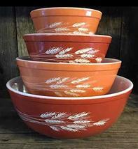 "SET OF 4 - Vintage 1980's Pyrex "" Autumn Harvest Wheat "" Mixing Nesting Batter B - $148.49"