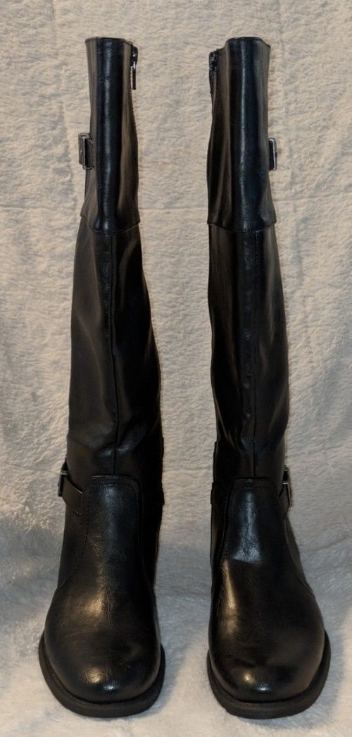 YUU Rocio Black Zipper Knee Hight Double Buckle Boots Size 7M
