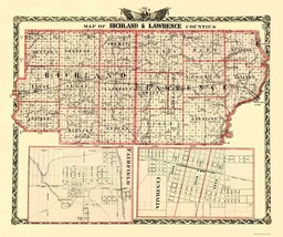 Richland  Lawrence Illinois Landowner- Warner 1870 - 23 x 27.54 - $36.95+