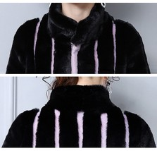 Black And Lavendar Moonlight Contrast Long Scalloped Mink Faux Fur Luxury Coat image 4
