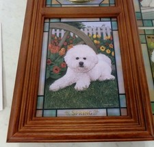 Danbury Mint Bichon Frise Puppy Dog Stained Glass Clock Michele Amatrula Season image 2