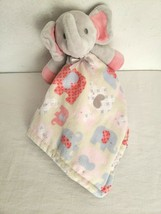 Blankets And Beyond Baby Security Blanket Elephant Grey Pink Blue - $15.35