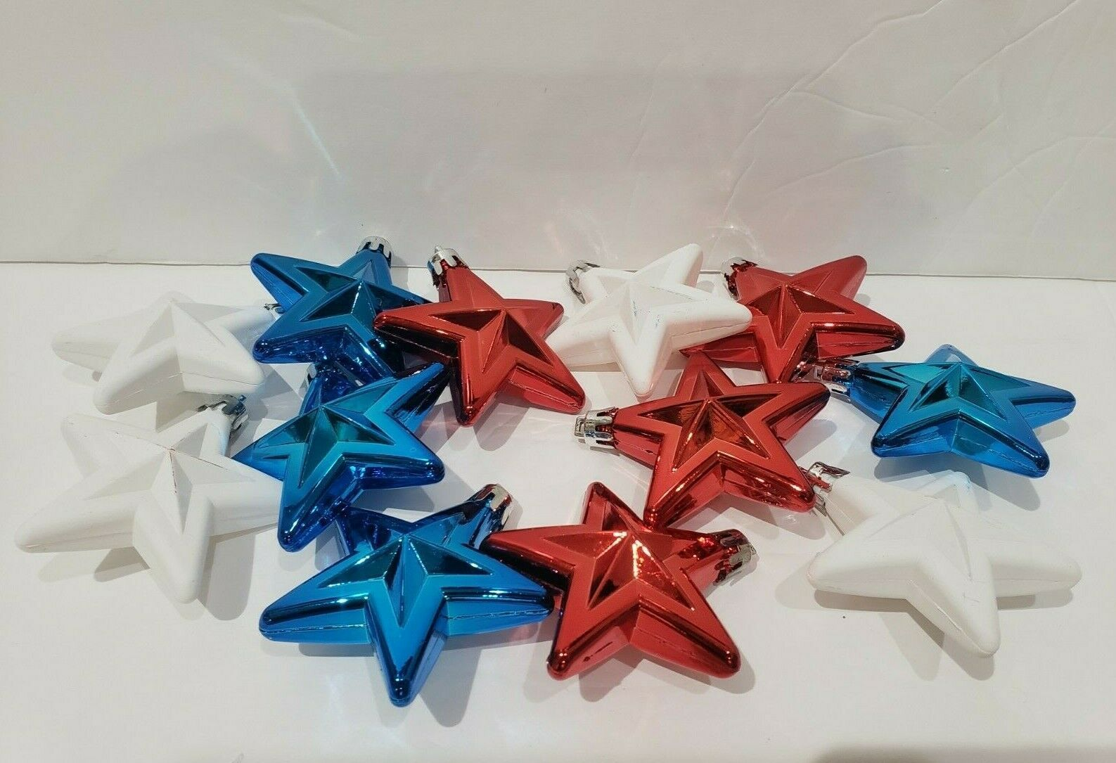 "Primary image for Patriotic 4th of July Red White Blue Plastic Star Ornaments 2.5"" Set Of 12"