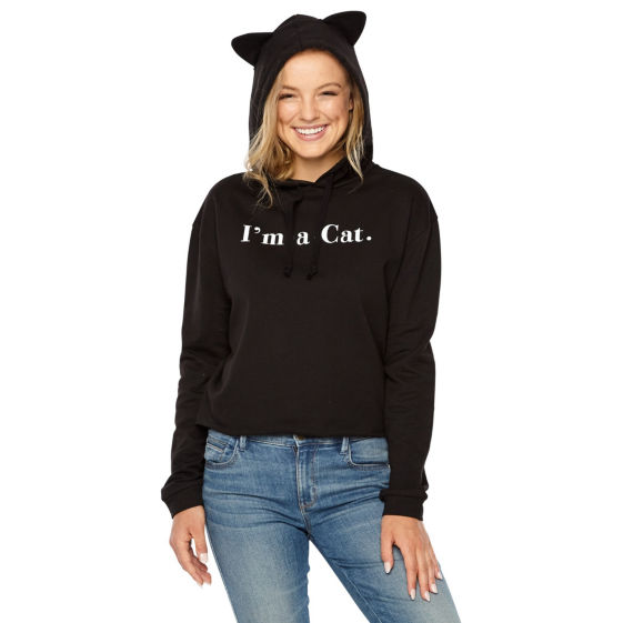 Primary image for Fifth Sun Women's Juniors Hoodie Size X-Large Black I'm A Cat  Hood has Ears