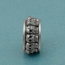 Solid 925 Sterling Silver Skull Face Spinner Anti Stress Oxidized Band M... - $34.52+