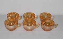 Vintage Jeannette Glass Iridescent Carnival Camellia Set 6 Punch Tea Cups 6 Oz - $17.99