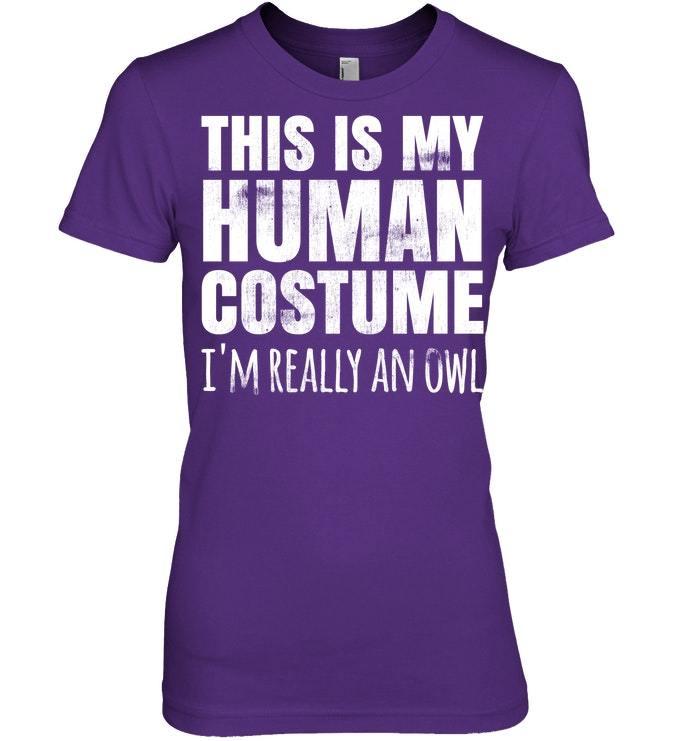 Funny Lazy Easy Halloween Owl Costume Tshirt Human Gift