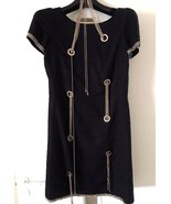 CHANEL Exquisite Black Tweed Gold CC Logo Chain Embellished Dress Size 3... - $2,177.01