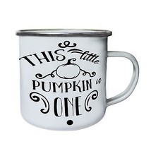 This Little Pumpkin Is One Black Retro,Tin, Enamel 10oz Mug t751e - $246,74 MXN