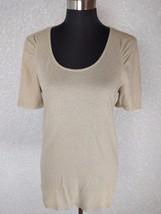 Ann Taylor Knit Top M Beige Metallic Gold Cotton Linen Blend Short Sleev... - $15.46