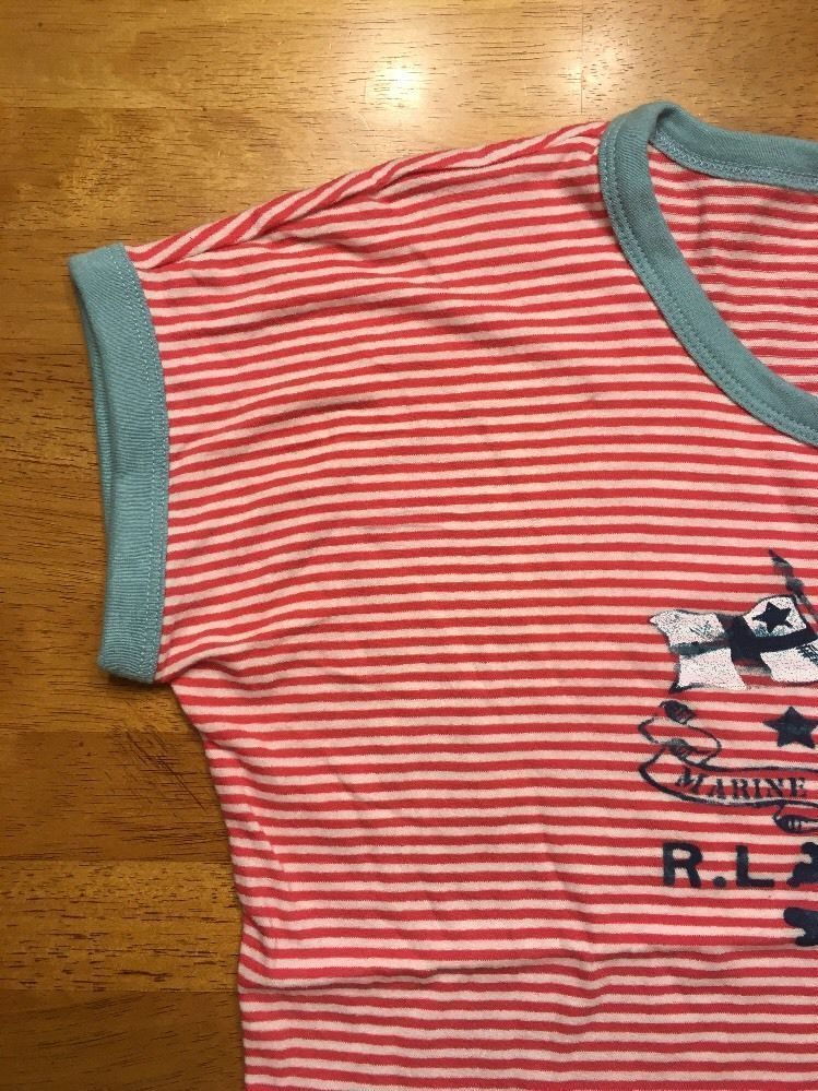 NWT Ralph Lauren Girl's Red Striped Blue Trim Pirate Shirt Size Large 12/14 image 6