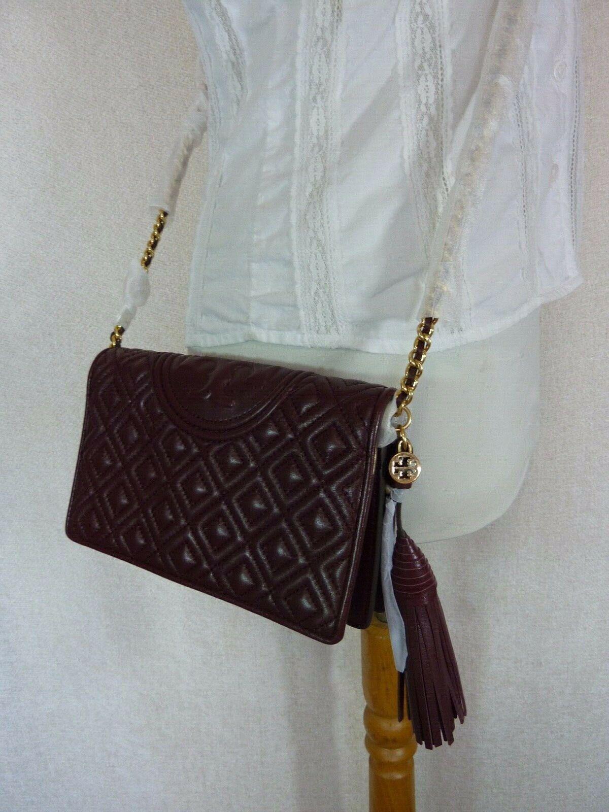 NWT Tory Burch Claret Fleming Wallet Cross Body Bag $328 image 11