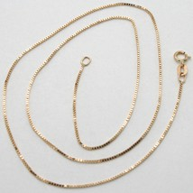 18K ROSE GOLD CHAIN MINI 0.8 MM VENETIAN SQUARE LINK 15.75 INCHES MADE IN ITALY image 1