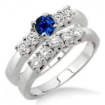 1.5 Carat Sapphire and Sim Diamond Five Stone Bridal Set on 14k White Gold Fn  - $85.00