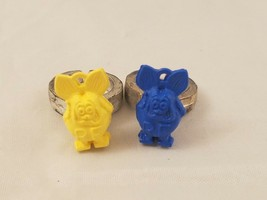 Lot Of 2 Vintage Original Small Ed Roth Rat Fink Ring Gumball Charm Blue... - $11.74