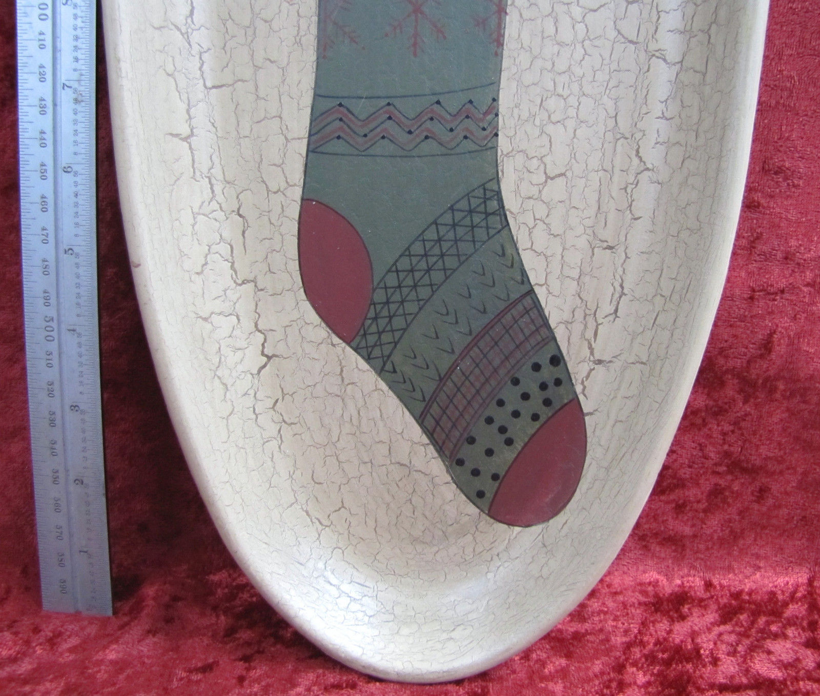 HEARTHSIDE COLLECTION COUNTRY PRIMITIVE OVAL SANTA & SNOWMAN IN STOCKING #31073