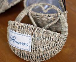 Holder Wall Hanging Shelf Iron Flower Pot Rack Shelves Wicker Bamboo Han... - $45.50