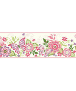 Butterflies & Flowers Wallpaper Border Chesapeake Wallcoverings BBC94071B - $20.99