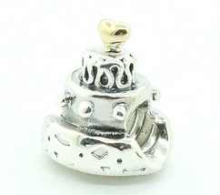 Pandora Sterling Silver 925 ALE & 14K Gold Celebration Cake Charm 790347... - $38.60