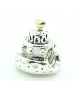 Pandora Sterling Silver 925 ALE & 14K Gold Celebration Cake Charm 790347... - $38.60