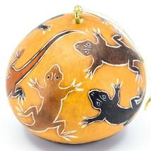 Handcrafted Carved Gourd Art Lizard Gecko Design Ornament Made in Peru
