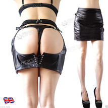 Wet Look Leather Bondage Crotchless Open Bum Cheek Hen Party Pencil Skirt - $24.59+