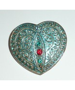 Pretty Glass Heart Blue w/ Gold Finish + Rhinestones Czech Glass Button ... - $7.42