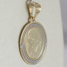 PENDENTIF MÉDAILLE OVALE OR JAUNE BLANC 750 18K Vierge Marie et Jésus, Madone image 2