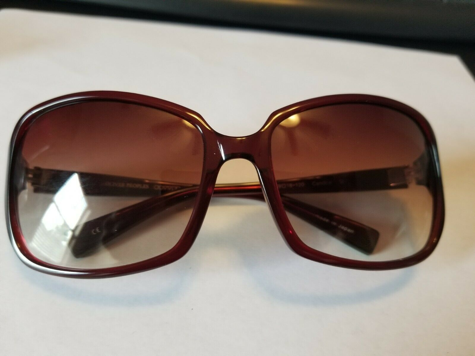 OLIVER PEOPLES Candice SI Sunglasses Glossy Transparent Dark Burgundy Red ..NEW image 4