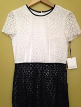 NWT Calvin Klein Beautiful Crochet Knit White Twilight Blue Cap Sleeve Dress 8 - $116.00