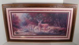 Home Interiors Homco Buck Deer in Forest Framed Print 17 x 30 Wall Decor - $94.00