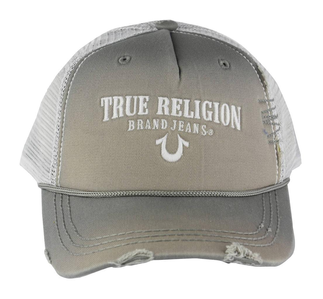 NEW TRUE RELIGION UNISEX DISTRESSED TRUCKER HAT CAP SLATE GREY TR1745