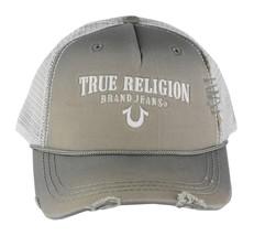 NEW TRUE RELIGION UNISEX DISTRESSED TRUCKER HAT CAP SLATE GREY TR1745