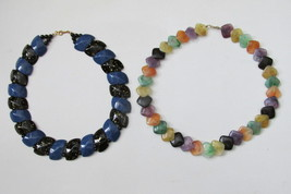 Two Vintage Avon Multicolored Beaded Necklaces, Color Impact, Polished S... - $14.99