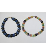 Two Vintage Avon Multicolored Beaded Necklaces, Color Impact, Polished Spectrum - £10.85 GBP