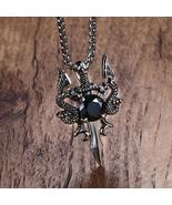 MPRAINBOW Fashionable, Gothic Dragon and Sword Themed Men's / Gents Pendant - $17.15
