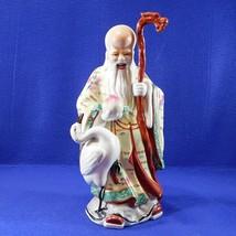 Vintage Chinese Shouxing Figurine God of Longevity w Crane Hand Painted ... - $49.50
