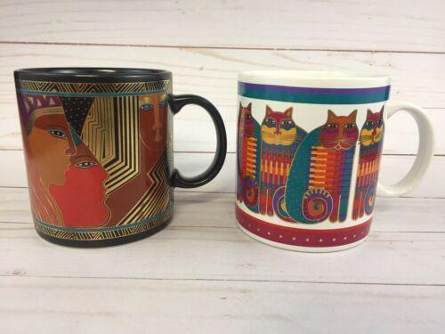 Vtg 2 Laurel Burch Coffee Mugs 1988 Ancient Ancestors Rainbow Cat Cousins Japan - $25.23