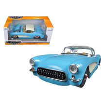 1957 Chevrolet Corvette Sky Blue with Cream Top and Side 1/24 Diecast Mo... - $32.30