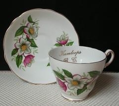 """Vintage Regency WHITE PINK FLORAL """"KAMLOOPS BC""""  Bone China TEA CUP & SA... - $11.63"""