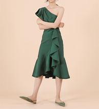 A Line One Shoulder Midi Dress Summer Wedding Bridesmaid Dress, Dark Green Blush image 8