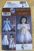 "Simplicity 9560 18"" Doll Girl Pattern Vintage Dress Clothes Susan Payne - $6.99"