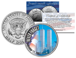 WORLD TRADE CENTER 9/11 Colorized 2001 JFK Half Dollar U.S. First Ever W... - $8.86