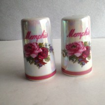 "Ceramic Salt & Pepper Shakers Memphis Tennessee 3 "" Tall Floral Pink Bur... - $6.87"